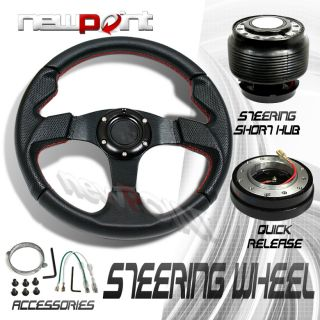 Black Red Steering Wheel Hub Adaptor OH90 Quick Release Kit