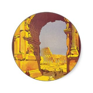Vintage Rome Italy Travel Poster Art Rome Express Round Sticker