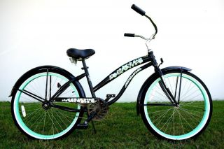 26 Lady Beach Cruiser Bike Bicycle Single Speed Color Black w/ Mint