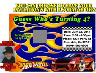 Hot Wheels Cars Birthday Party Invitations Scratch Off Custom