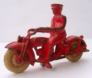Cast Iron Motorcycle and Rider Hubley or Arcade Original Wheels