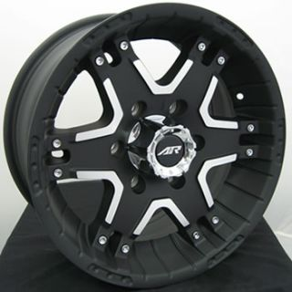 17x8 Black American Racing Tactic Wheels 6x5.5 +25 GMC SAFARI SAVANA