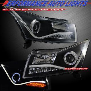 2011 2012 Chevy Cruze Halo Projector Headlights Black w CCFL Bar LED