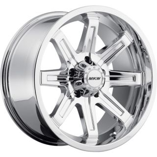 18x9 Chrome MKW Offroad M88 Wheels 5x5 10 Lifted Jeep Wrangler Rubicon