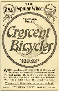 1898 Ad Western Wheels Crescent Bicycles Sky High Moon Wreaths