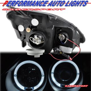 2002 2003 Honda Civic SI Dual Halo Rims Projector Headlights Black