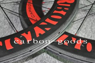 Full Carbon 3k Glossy/Red Logo Road Bike Wheels 86mm Tubular Wheelset