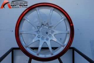 16x7 Rota Fighter 10 5x100 114 3 40 White Cnady Tone Red Wheel