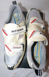Vittoria Look THL Triathlon Tri White Bike Cycling Shoes UK 12 EU 46