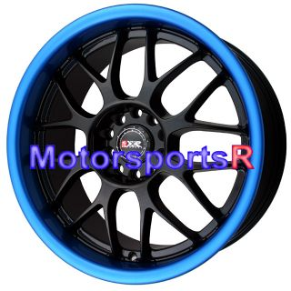 006 Black Blue Lip Wheels Rims Staggered Deep Dish 5x114 3 120