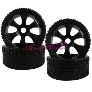 4PCS RC 18 On Road Car Buggy Foam Rubber Tyre Tire & Wheel Rim black