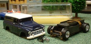 57 Chevy Suburban HO Scale Slot Car Aurora Thunderjet 500 Solid Rivet