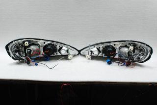 99 05 Grand Am Dual Halo Rim Projector LED Black Headlights Lamps