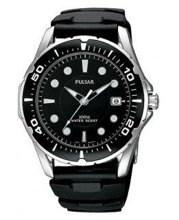Pulsar Watch, Mens Black Polyurethane Strap PXH227   All Watches