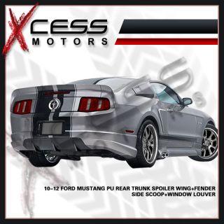 10 12 Ford Mustang PU Rear Trunk Spoiler Wing Fender Side Scoop Window