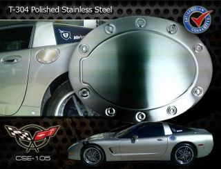 C5 Corvette Racing Style Brushed Stainless Steel Gas Fuel Door Cover