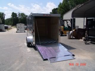 6x10 V Nose Enclosed Motorcycle Cargo Trailer Ramp Door