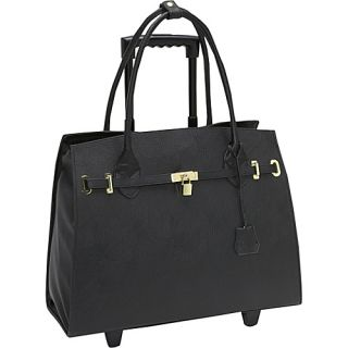 Murval Faux Leather Laptop Tote on Wheels Black