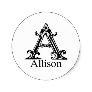 Fancy Monogram: Allison Round Sticker