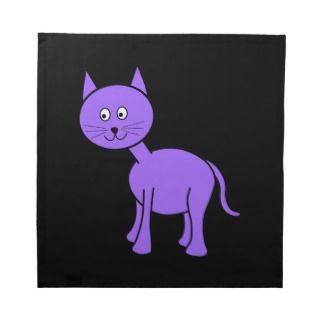 Cute Purple Cat. Cat Cartoon on Black. Printed Napkins