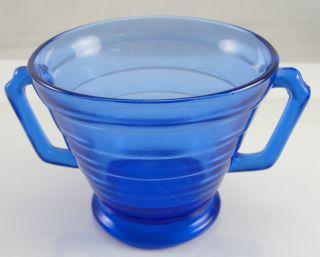 Hazel Atlas Crystal Moderntone Cobalt Blue Sugar Bowl