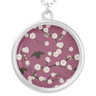 Dusty Rose Cherry Blossom Winged Hearts Necklaces