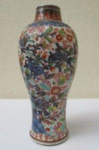18thC Chinese Porcelain Blue White Clobbered Vase
