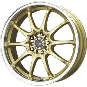 New 17X7 4 100/4 114.3 Drag Dr 9 Gold Machined Lip Wheels/Rims