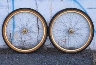 Old School 26 BMX Wheels Gold Ukai Rims SR Hubs Cheng Shin Snakebelly