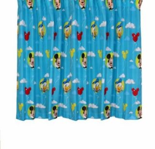 Disney Mickey Mouse Puzzled 66 x 54 inch Drop Curtain Pair Brand New
