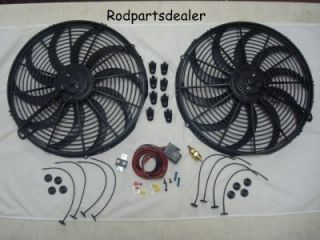 16 Dual Electric Fan w/ 180 Degree Thermostat Relay Kit & Mounting