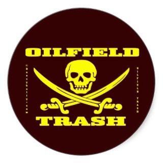 Oil Field Trash Sticker,Skull And Crossbones,Oil