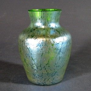 Iridescent Green Papillon Art Glass Vase w/ Oil Spots & Polished Rim