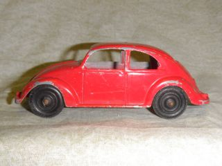 Vintage Old Red Tootsie Toy VW Bug Beetle Oval Window Volkswagen Metal