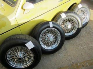 80s Jaguar 15 inch Dayton Wire Wheels 205 70 15 Good Tires Center Caps