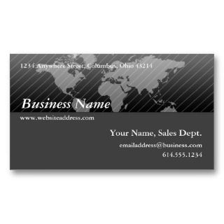 Business Card :: Black & Grey World Map Design 2