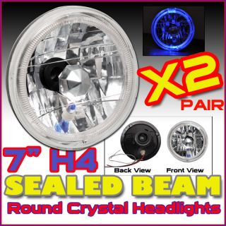 Round SEALED Beam Crystal Clear Diamond Headlight H4