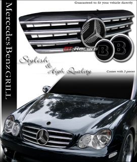 01 07 Mercedes W203 C230 C320 AMG Black Front Grille Grill w Hood