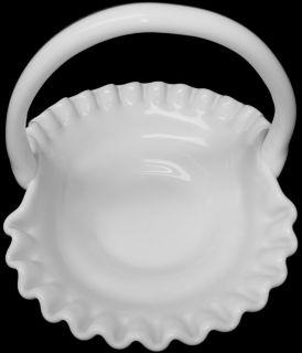 Westmoreland Milk Glass Paneled Grape Pattern Crimped Rim Basket