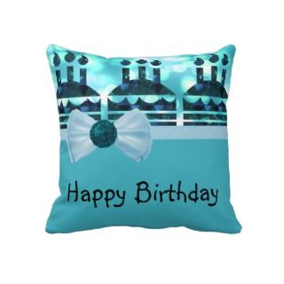Blue Bokeh Birthday Cake Gemstone Throw Pillows
