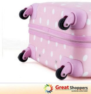 New Light Weight Dot Pattern Trolley Luggage Travel Hard Case 24 Pink