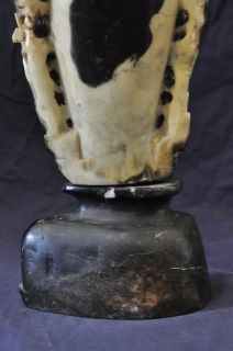 CHINESE HAND CARVED HARD STONE VASE BIRD & FLOWER SCULPTURE SOAPSTONE