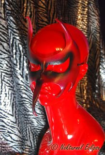 Red Devil Leather Mask Horns Beak Masquerade Costume
