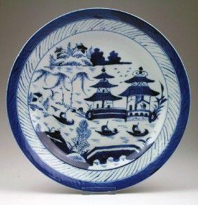 Large Antique 19thC Edo Japanese Blue White Canton Style Porcelain