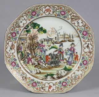 Antique French Porcelain Chinese Qianlong Famille Rose Inspired Plate