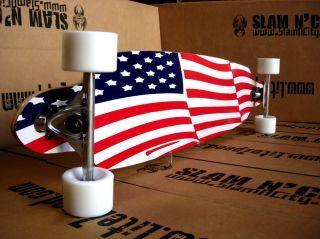 USA American Flag Longboard Skateboard Complete Drop Through Thru