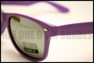 80s Retro Wayfarer Sunglasses Mirror Lens Shades for Men Women Purple