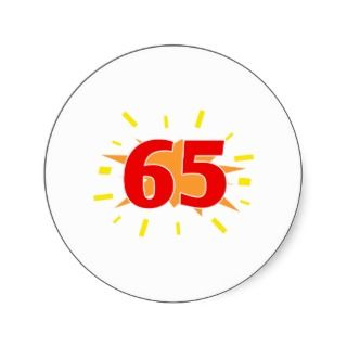 65th Birthday Party Presents Round Stickers