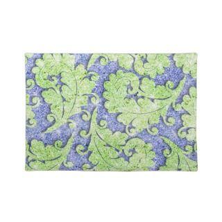 Girly paisley pattern, green & blue glitter photo place mat
