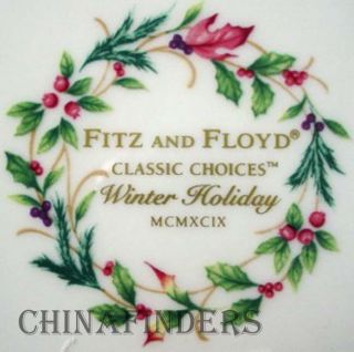 Fitz Floyd China Winter Holiday Pattern Dinner Plate